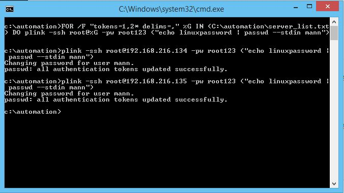 automate remote linux commands from windows terminal