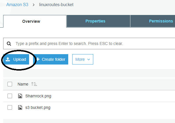 Upload objects-files in s3 bucket